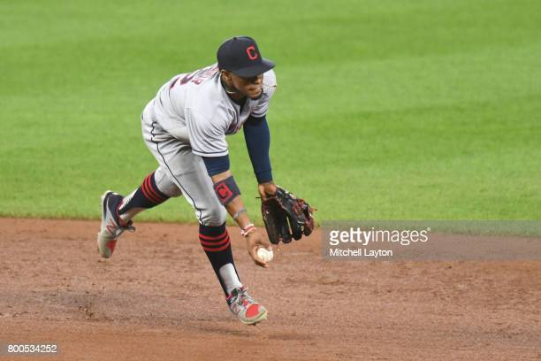 Francisco Lindor of the Cleveland Indians fields a ground ball during a baseball game against the Baltimore Orioles at Oriole park at Camden Yards on...