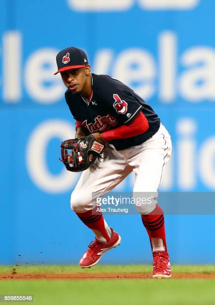 Francisco Lindor of the Cleveland Indians fields a ground ball during the game against the Kansas City Royals at Progressive field on Thursday...