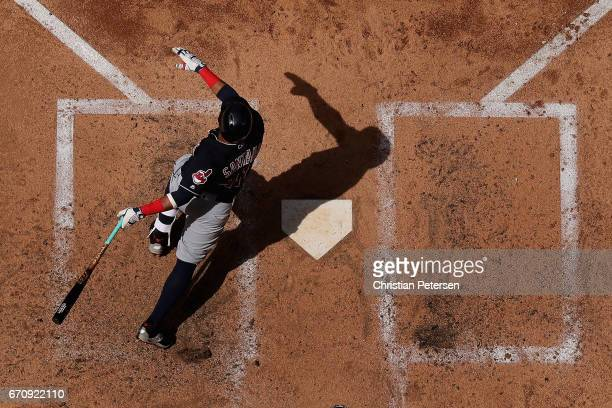 Francisco Lindor of the Cleveland Indians hits a single against the Arizona Diamondbacks during the fourth inning of the MLB game at Chase Field on...
