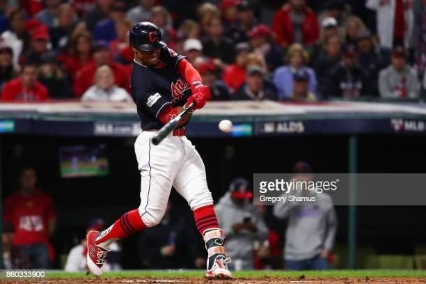 Francisco Lindor of the Cleveland Indians hits a single in the fourth inning against the New York Yankees in Game Five of the American League...