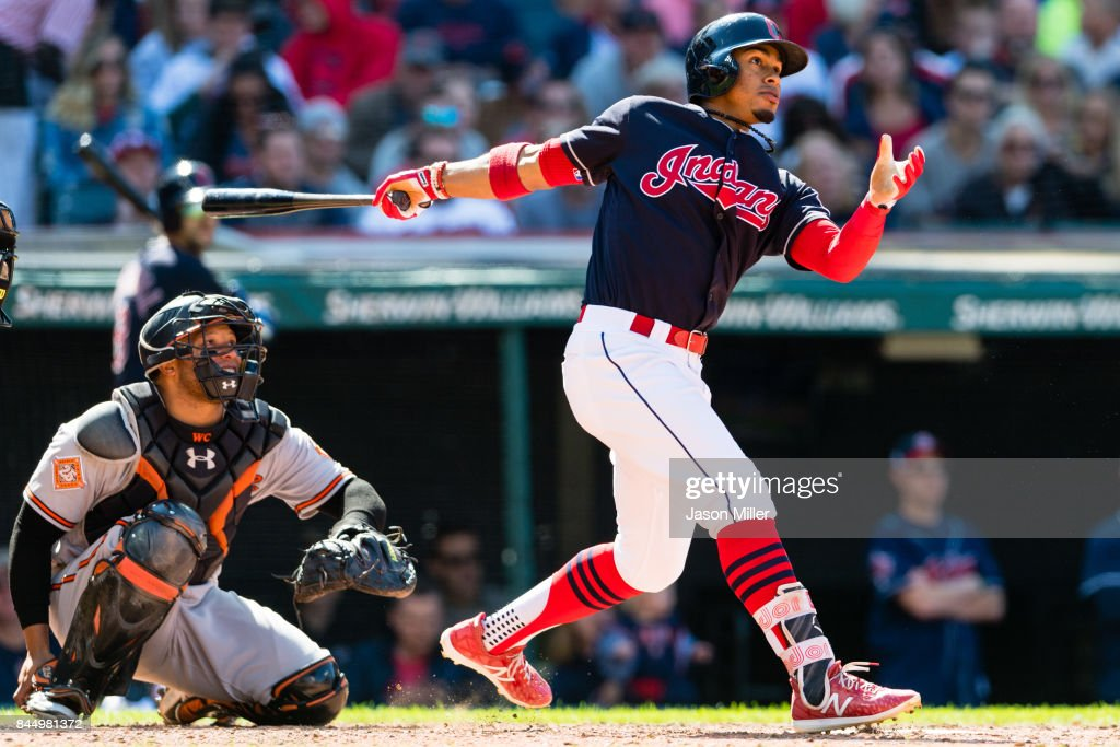 Francisco Lindor #12 of the Cleveland Indians hits a solo home run during the seventh inning against the Baltimore Orioles at Progressive Field on September 9, 2017 in Cleveland, Ohio.