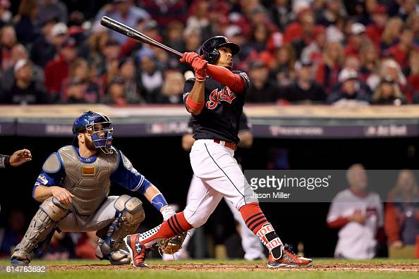 Francisco Lindor of the Cleveland Indians hits a two run home run to right field in the sixth inning against Marco Estrada of the Toronto Blue Jays...