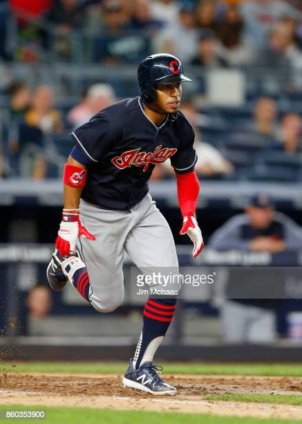 Francisco Lindor of the Cleveland Indians in action against the New York Yankees at Yankee Stadium on August 28 2017 in the Bronx borough of New York...