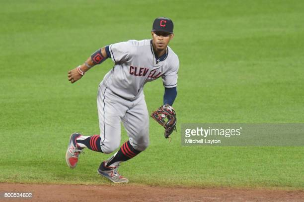Francisco Lindor of the Cleveland Indians in position during a baseball game against the Baltimore Orioles at Oriole park at Camden Yards on June 21...