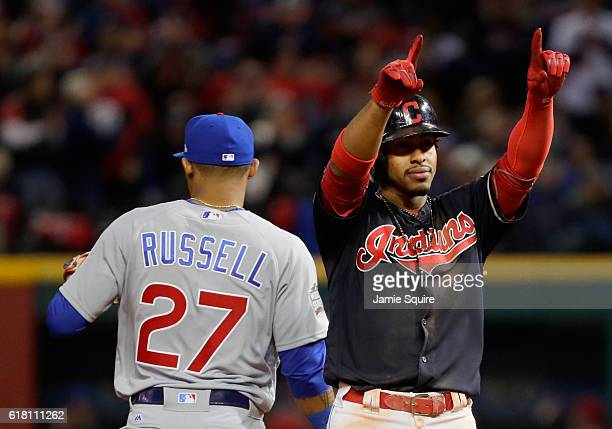 Francisco Lindor of the Cleveland Indians reacts after hitting a double during the seventh inning against the Chicago Cubs in Game One of the 2016...