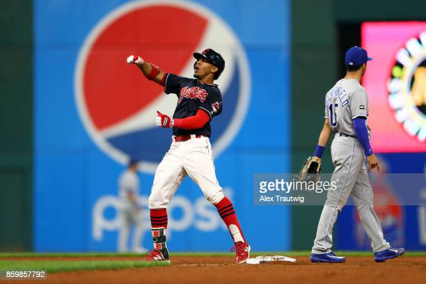 Francisco Lindor of the Cleveland Indians reacts after hitting an RBI double in the bottom of the ninth inning during the game against the Kansas...