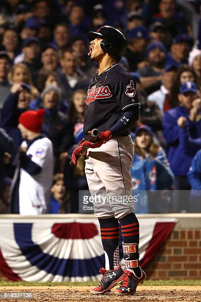 Francisco Lindor of the Cleveland Indians reacts after striking out in the eighth inning against the Chicago Cubs in Game Five of the 2016 World...