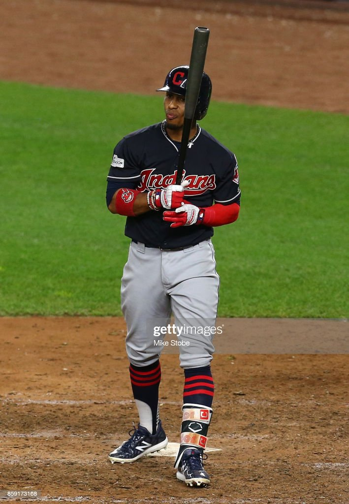 Francisco Lindor #12 of the Cleveland Indians reacts after striking out during the ninth inning against the New York Yankees in game three of the American League Division Series at Yankee Stadium on October 8, 2017 in New York City.