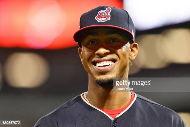 Francisco Lindor of the Cleveland Indians reacts in the fifth inning against the New York Yankees in Game Five of the American League Divisional...