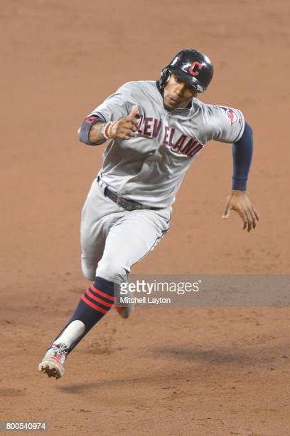 Francisco Lindor of the Cleveland Indians runs to third base during a baseball game against the Baltimore Orioles at Oriole park at Camden Yards on...