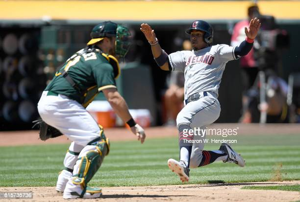 Francisco Lindor of the Cleveland Indians scores against the Oakland Athletics in the top of the fouth inning at Oakland Alameda Coliseum on July 16...