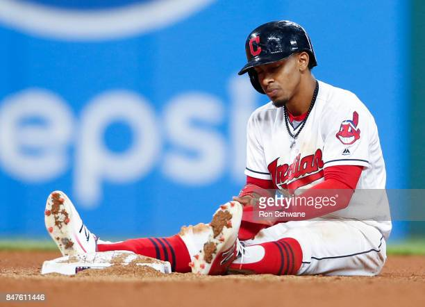 Francisco Lindor of the Cleveland Indians sits at second base after being forced out on a ball hit by Austin Jackson against the Kansas City Royals...