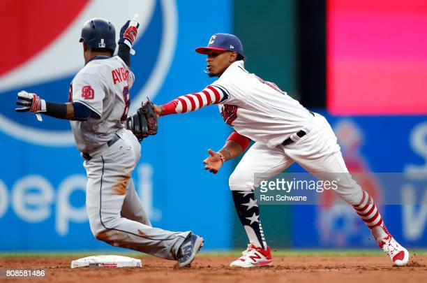 Francisco Lindor of the Cleveland Indians tags out Erick Aybar of the San Diego Padres on a fielders choice by Cory Spangenberg during the fifth...