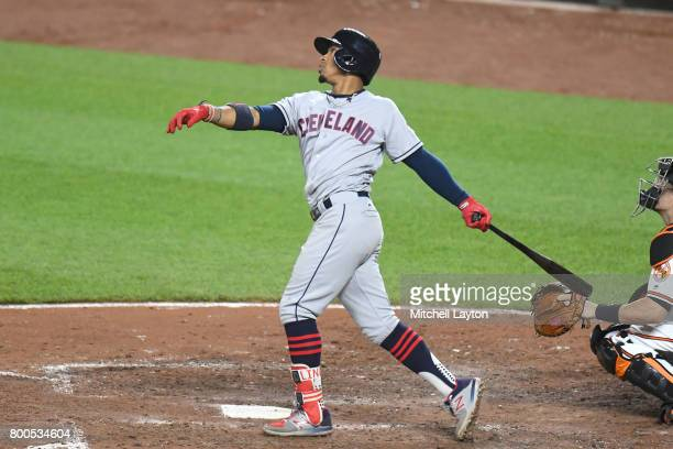 Francisco Lindor of the Cleveland Indians takes a swing during a baseball game against the Baltimore Orioles at Oriole park at Camden Yards on June...
