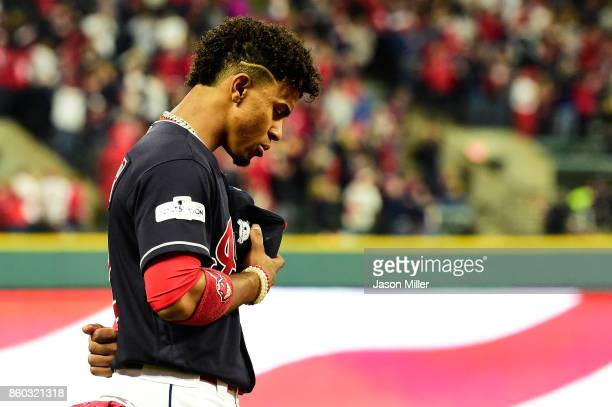 Francisco Lindor of the Cleveland Indians takes part in pregame ceremonies for game five of the American League Divisional Series against the New...