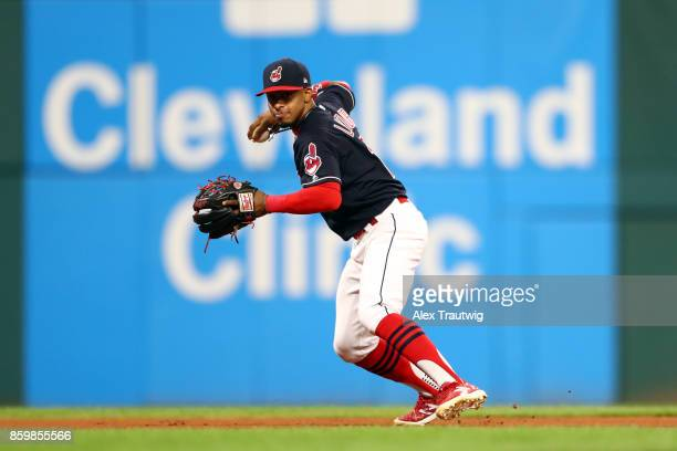 Francisco Lindor of the Cleveland Indians throws to first during the game against the Kansas City Royals at Progressive field on Thursday September...