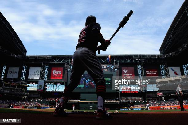 Francisco Lindor of the Cleveland Indians warms up on deck during the first inning of the MLB game against the Arizona Diamondbacks at Chase Field on...