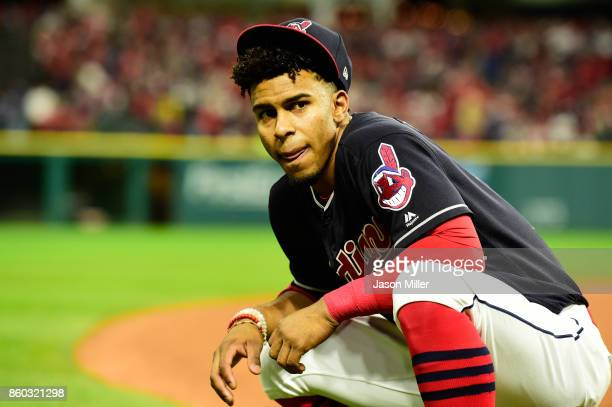 Francisco Lindor of the Cleveland Indians warms up prior to game five of the American League Divisional Series against the New York Yankees at...