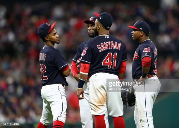 Francisco Lindor Yandy Diaz Carlos Santana and Jose Ramirez of the Cleveland Indians stand on the mound in the sixth inning of the game against the...