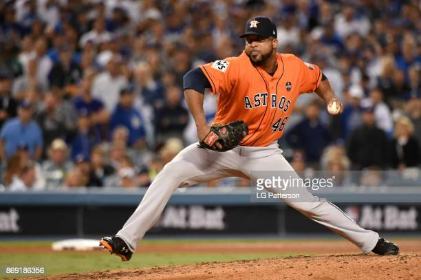 Francisco Liriano of the Houston Astros pitches during Game 7 of the 2017 World Series against the Los Angeles Dodgers at Dodger Stadium on Wednesday...