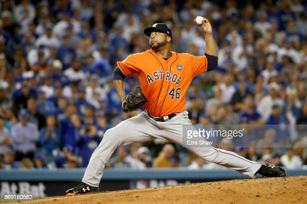 Francisco Liriano of the Houston Astros pitches during the fifth inning against the Los Angeles Dodgers in game seven of the 2017 World Series at...