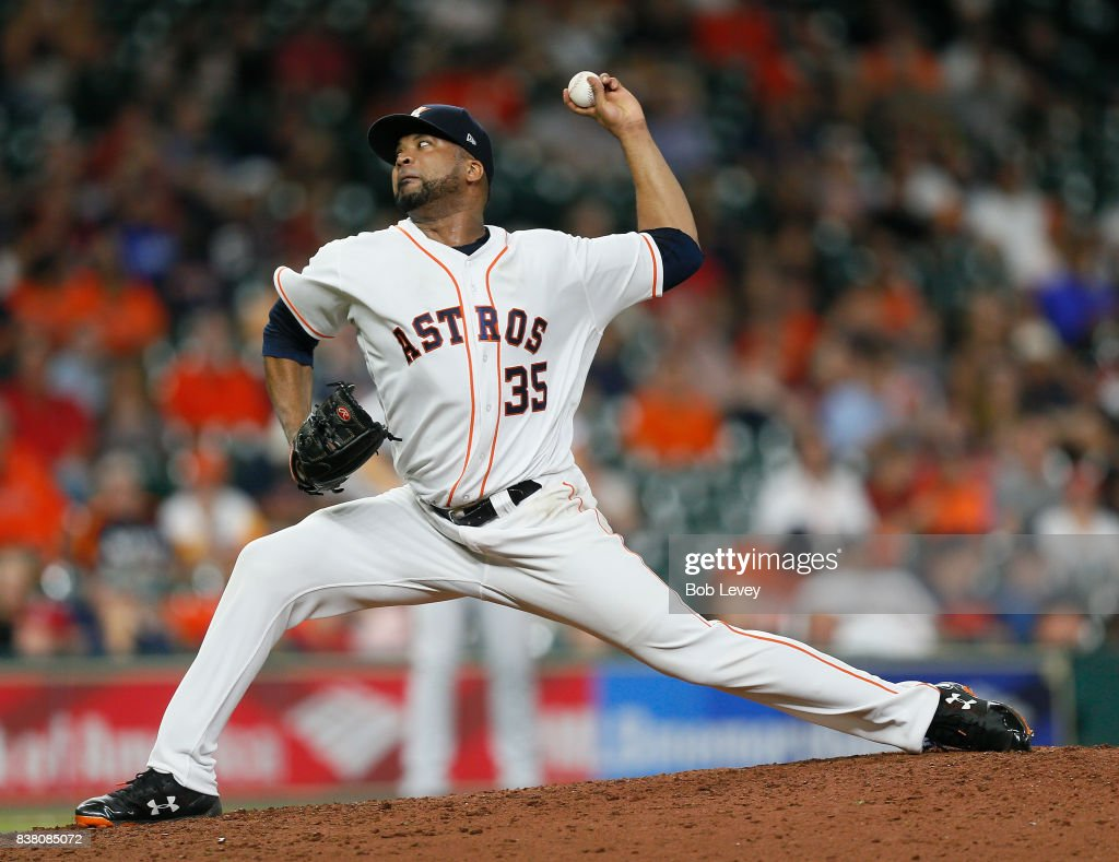 Francisco Liriano #35 of the Houston Astros pitches in the ninth inning against the Washington Nationals at Minute Maid Park on August 23, 2017 in Houston, Texas.