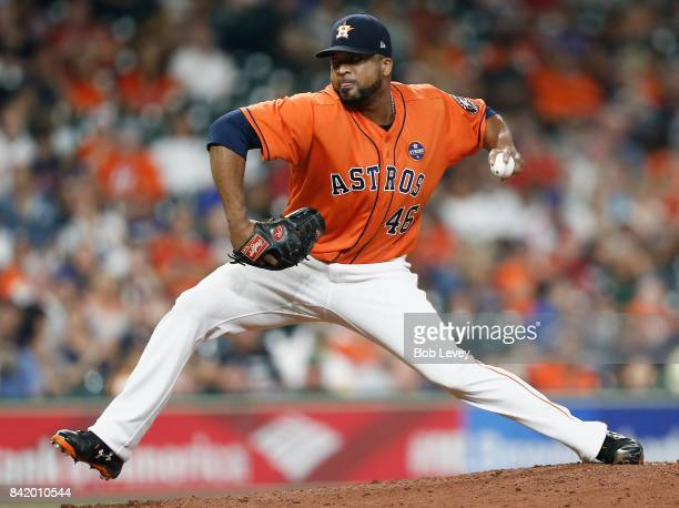 Francisco Liriano of the Houston Astros pitches in the sixth inning against the New York Mets in game two of a doubleheader at Minute Maid Park on...