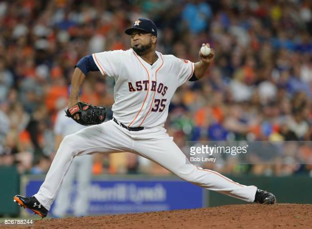 Francisco Liriano of the Houston Astros pitches in the tenth inning against the Toronto Blue Jays at Minute Maid Park on August 5 2017 in Houston...
