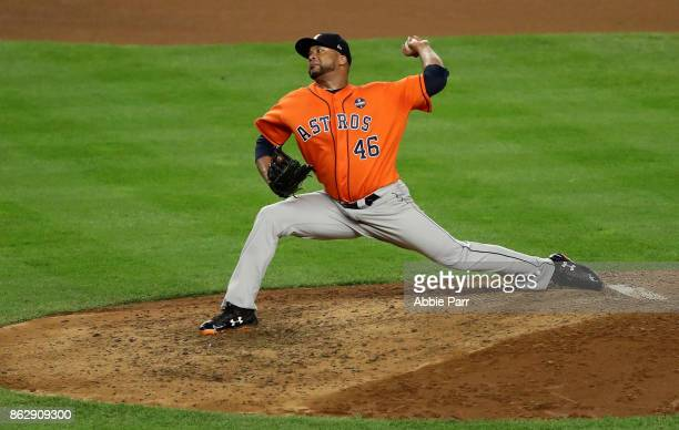 Francisco Liriano of the Houston Astros throws a pitch during the eighth inning against the New York Yankees in Game Five of the American League...