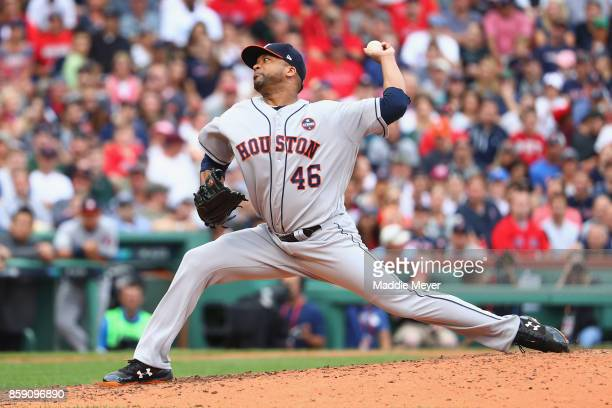 Francisco Liriano of the Houston Astros throws a pitch in the third inning against the Boston Red Sox during game three of the American League...