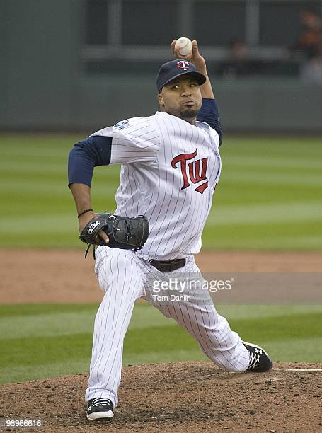 Francisco Liriano of the Minnesota Twins pitches against the Baltimore Orioles at Target Field on May 8 2010 in Minneapolis Minnesota