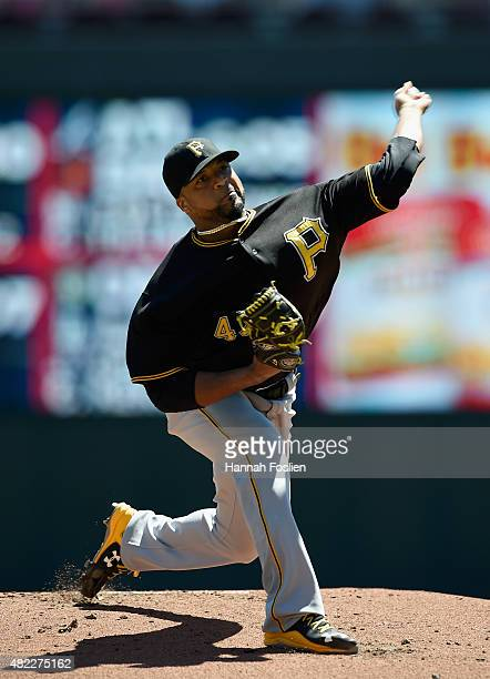Francisco Liriano of the Pittsburgh Pirates delivers a pitch against the Minnesota Twins during the first inning of the game on July 29 2015 at...