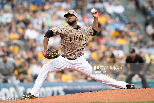 Francisco Liriano of the Pittsburgh Pirates delivers a pitch in the first inning during the game against the Milwaukee Brewers at PNC Park on July 21...
