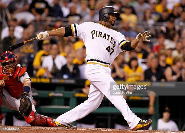 Francisco Liriano of the Pittsburgh Pirates hits a two RBI single in the second inning during the game against the St Louis Cardinals at PNC Park on...