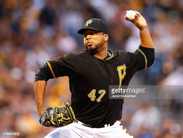 Francisco Liriano of the Pittsburgh Pirates pitches against the Atlanta Braves during the game at PNC Park on June 26 2015 in Pittsburgh Pennsylvania