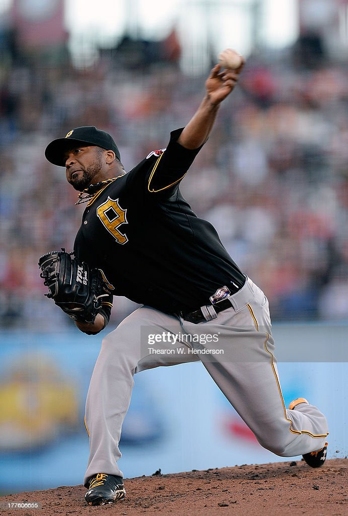 <a gi-track='captionPersonalityLinkClicked' href=/galleries/search?phrase=Francisco+Liriano&family=editorial&specificpeople=580400 ng-click='$event.stopPropagation()'>Francisco Liriano</a> #47 of the Pittsburgh Pirates pitches against the San Francisco Giants at AT&T Park on August 24, 2013 in San Francisco, California.