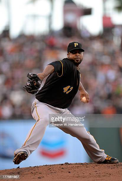 Francisco Liriano of the Pittsburgh Pirates pitches against the San Francisco Giants at ATT Park on August 24 2013 in San Francisco California