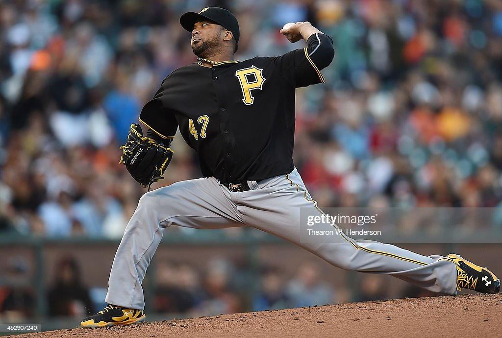 <a gi-track='captionPersonalityLinkClicked' href=/galleries/search?phrase=Francisco+Liriano&family=editorial&specificpeople=580400 ng-click='$event.stopPropagation()'>Francisco Liriano</a> #47 of the Pittsburgh Pirates pitches against the San Francisco Giants in the bottom of the first inning at AT&T Park on July 29, 2014 in San Francisco, California.