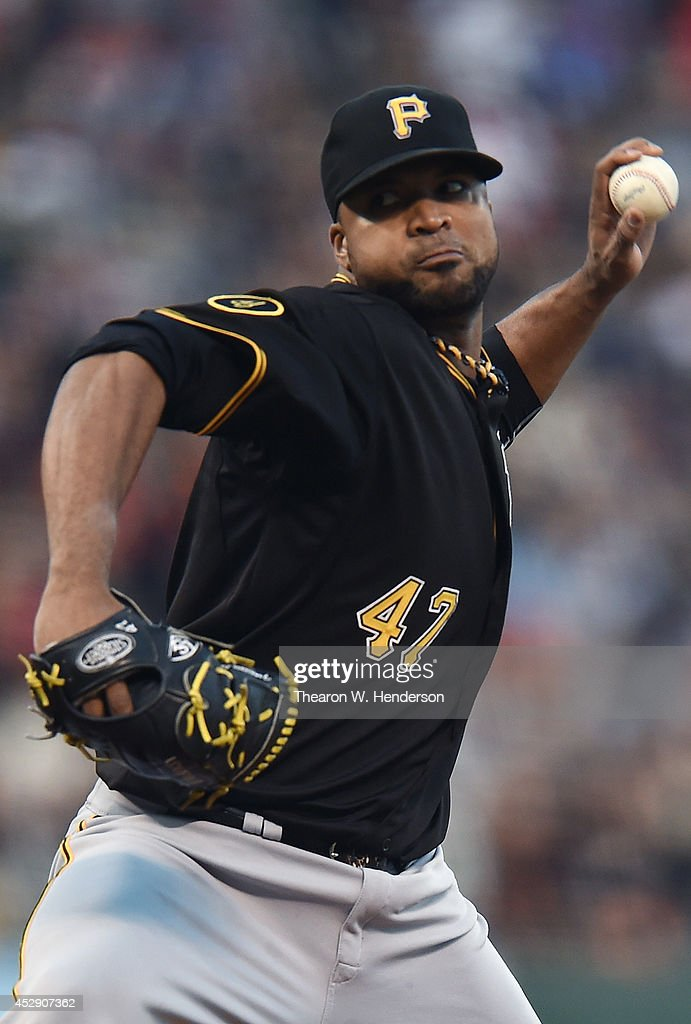 <a gi-track='captionPersonalityLinkClicked' href=/galleries/search?phrase=Francisco+Liriano&family=editorial&specificpeople=580400 ng-click='$event.stopPropagation()'>Francisco Liriano</a> #47 of the Pittsburgh Pirates pitches against the San Francisco Giants in the bottom of the second inning at AT&T Park on July 29, 2014 in San Francisco, California.