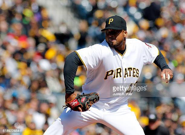 Francisco Liriano of the Pittsburgh Pirates pitches during opening day against the St Louis Cardinals at PNC Park on April 3 2016 in Pittsburgh...