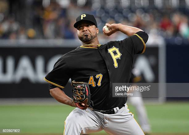 Francisco Liriano of the Pittsburgh Pirates pitches during the first inning of a baseball game against the San Diego Padres at PETCO Park on April 19...