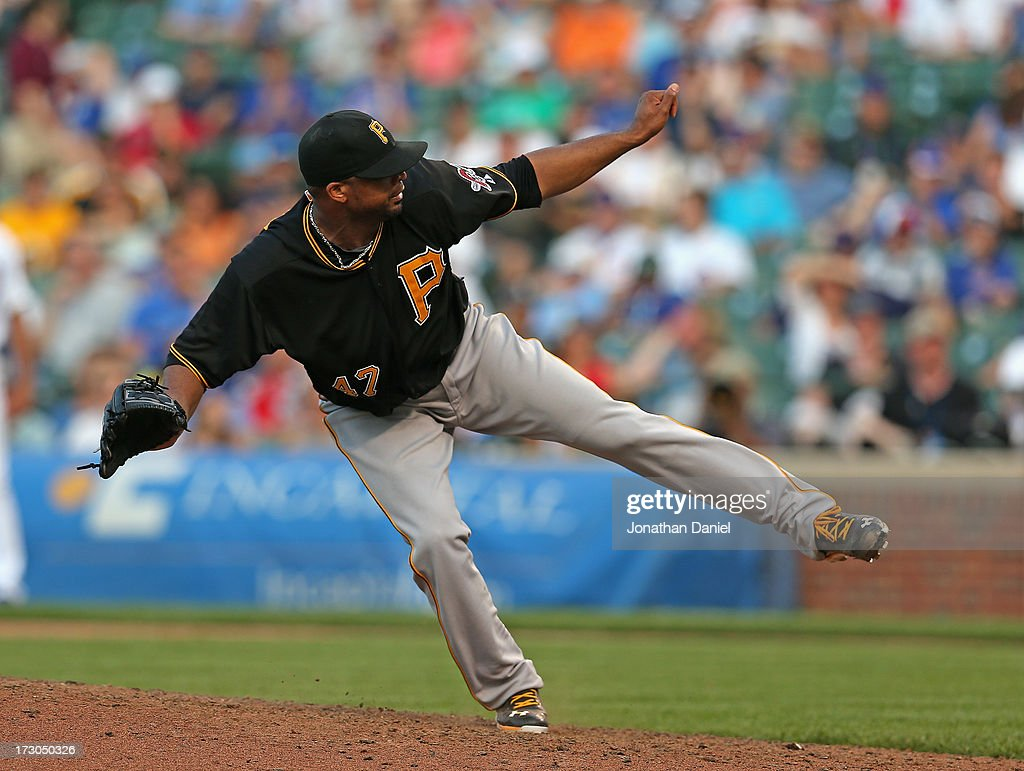 <a gi-track='captionPersonalityLinkClicked' href=/galleries/search?phrase=Francisco+Liriano&family=editorial&specificpeople=580400 ng-click='$event.stopPropagation()'>Francisco Liriano</a> #47 of the Pittsburgh Pirates pitches in the 9th inning against the Chicago Cubs on his way to a compete game win at Wrigley Field on July 5, 2013 in Chicago, Illinois. The Pirates defeated the Cubs 6-2.