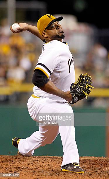 Francisco Liriano of the Pittsburgh Pirates pitches in the fifth inning during the game against the San Francisco Giants at PNC Park on August 23...