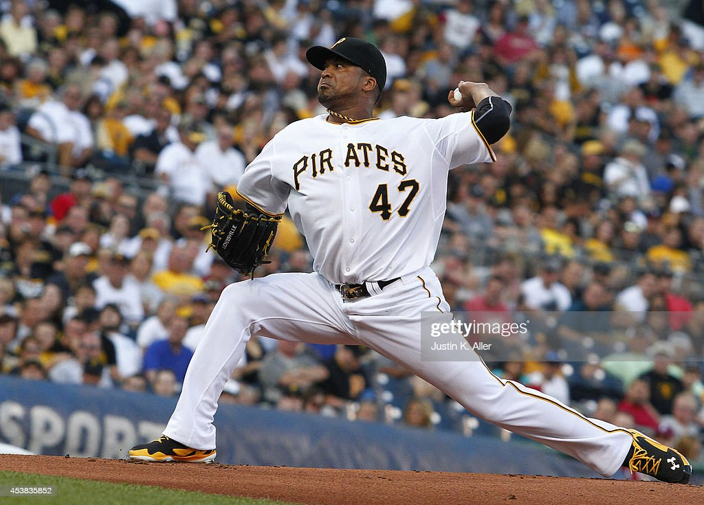 <a gi-track='captionPersonalityLinkClicked' href=/galleries/search?phrase=Francisco+Liriano&family=editorial&specificpeople=580400 ng-click='$event.stopPropagation()'>Francisco Liriano</a> #47 of the Pittsburgh Pirates pitches in the first inning against the Atlanta Braves during the game at PNC Park on August 19, 2014 in Pittsburgh, Pennsylvania.