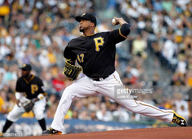 Francisco Liriano of the Pittsburgh Pirates pitches in the first inning during the game against the St Louis Cardinals at PNC Park on May 8 2015 in...