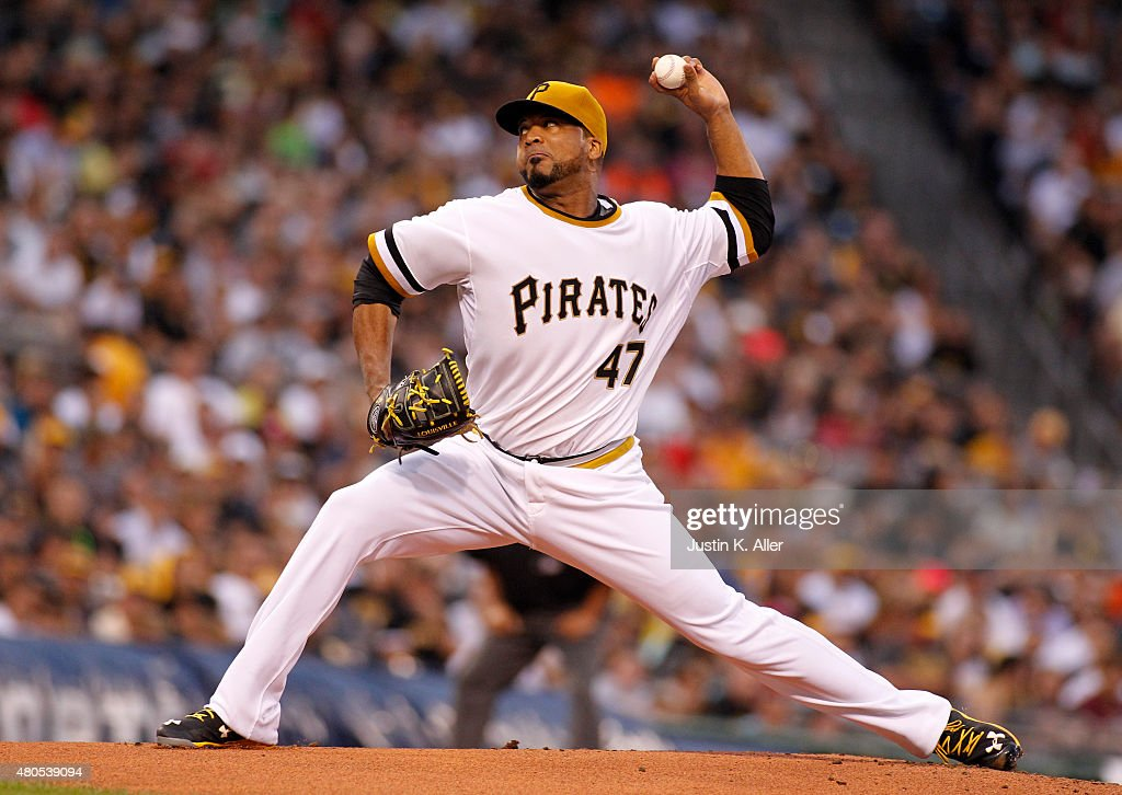 Francisco Liriano #47 of the Pittsburgh Pirates pitches in the first inning during the game against the St. Louis Cardinals at PNC Park on July 12, 2015 in Pittsburgh, Pennsylvania.