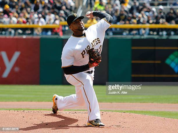 Francisco Liriano of the Pittsburgh Pirates pitches in the first inning during opening day against the St Louis Cardinals at PNC Park on April 3 2016...