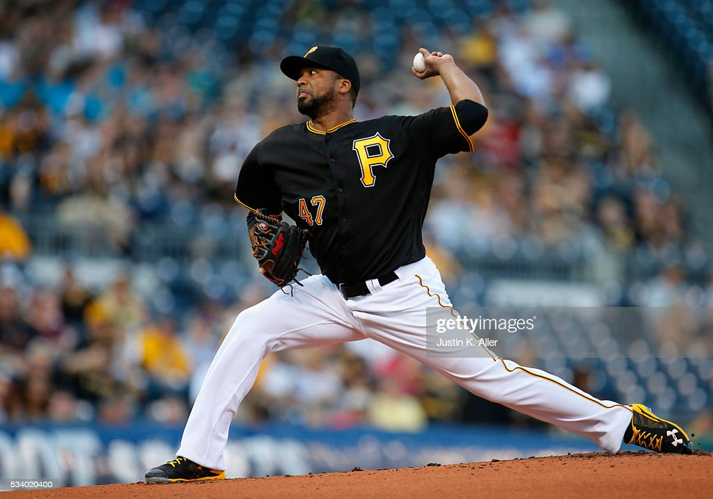 <a gi-track='captionPersonalityLinkClicked' href=/galleries/search?phrase=Francisco+Liriano&family=editorial&specificpeople=580400 ng-click='$event.stopPropagation()'>Francisco Liriano</a> #47 of the Pittsburgh Pirates pitches in the first inning during the game against the Arizona Diamondbacks at PNC Park on May 24, 2016 in Pittsburgh, Pennsylvania.