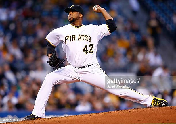 Francisco Liriano of the Pittsburgh Pirates pitches in the third inning against the Detroit Tigers while wearing the to commemorate Jackie Robinson...