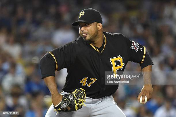 Francisco Liriano of the Pittsburgh Pirates pitches in the third inning against the Los Angeles Dodgers at Dodger Stadium on September 19 2015 in Los...